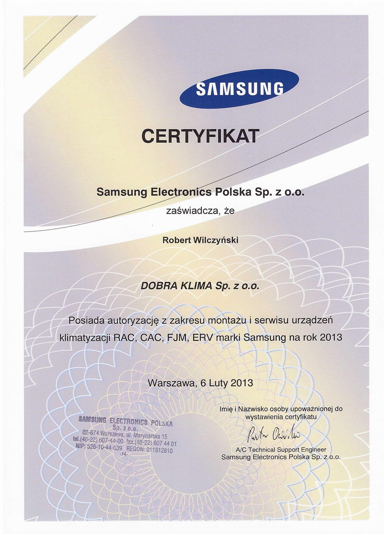 2013-certyfikat-samsung-robert-wilczynski