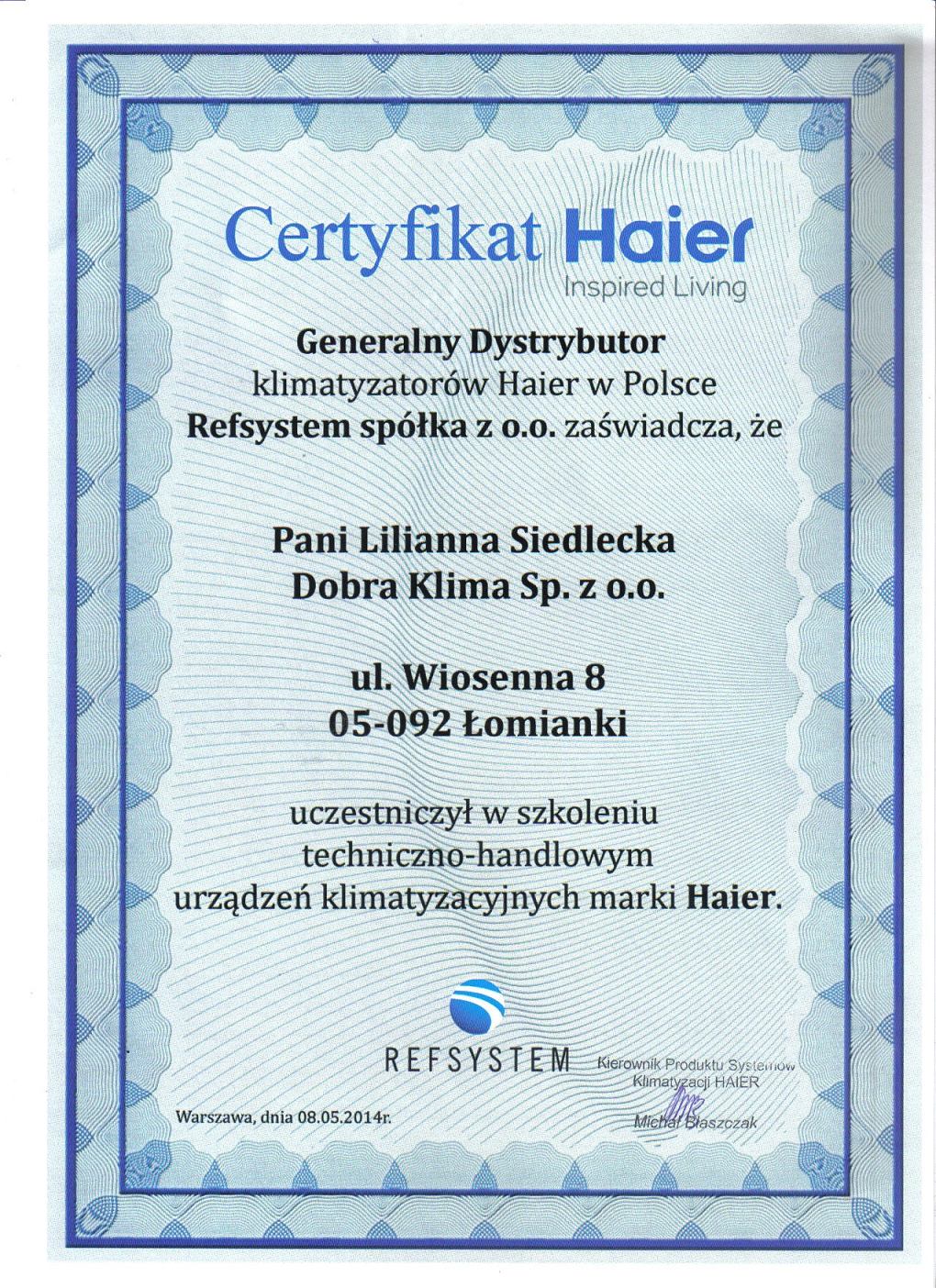 2014-certyfikat-haier-lilianna-siedlecka