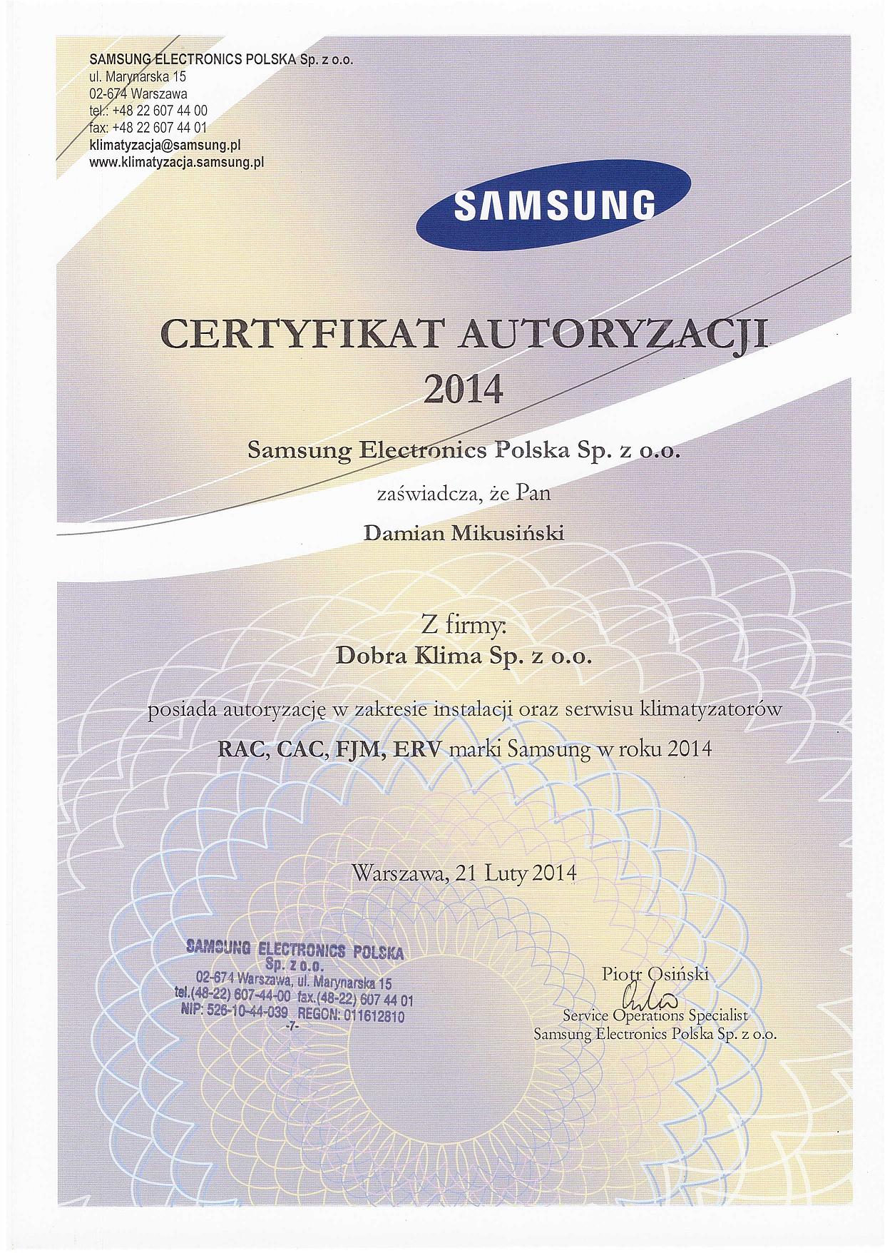2014-certyfikat-samsung-damian-mikusinski