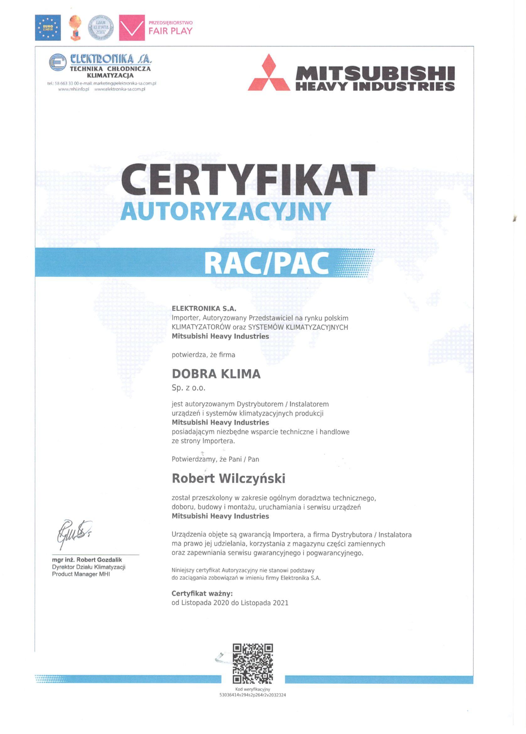 2020-certyfikat-mitsubishi-robert-wilczynski