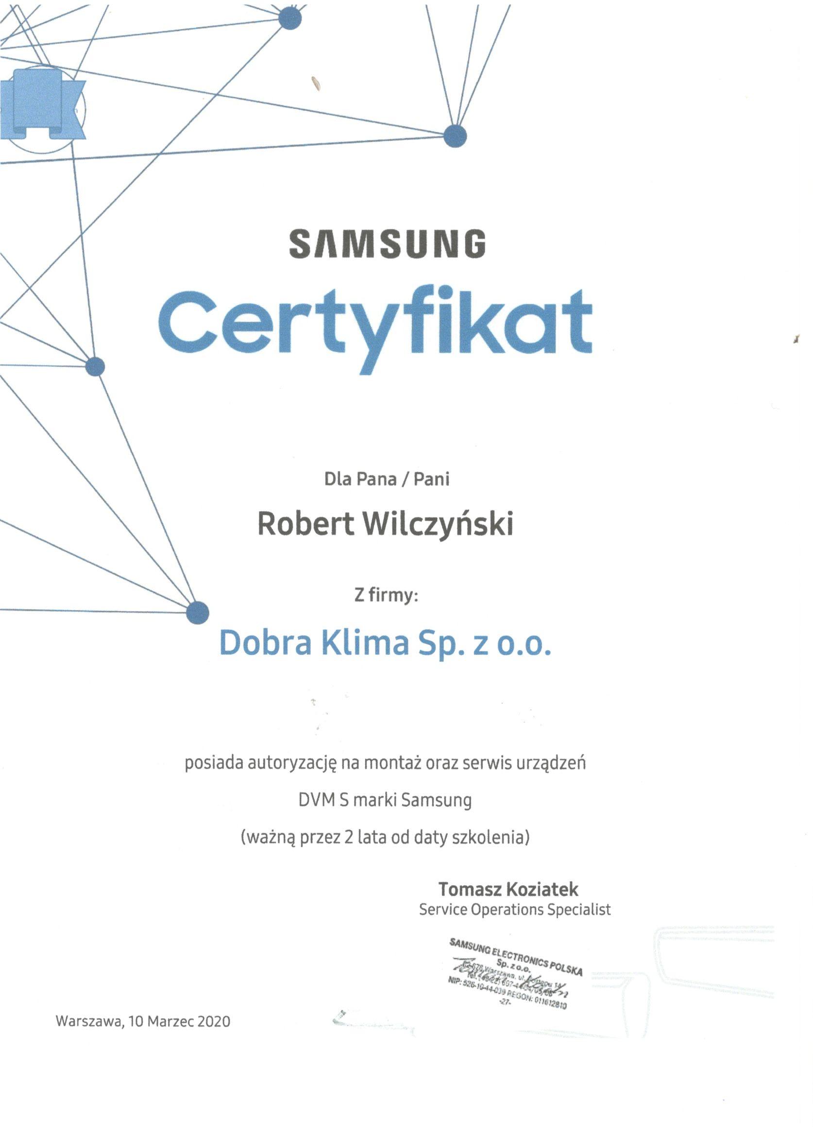 2020-certyfikat-samsung-robert-wilczynski